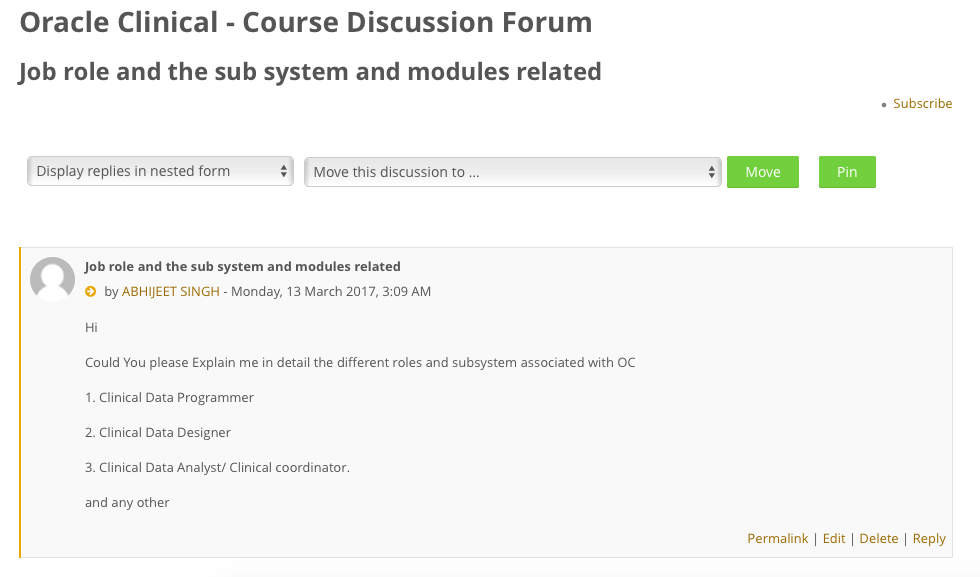 Discussion Forum - Oracle Clinical
