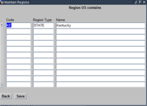 Regions within this Region screen
