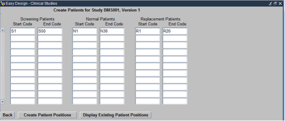 Creating Patient Positions while Designing Clinical Study