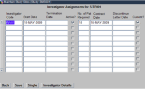 Study Sites - Associate Investigator